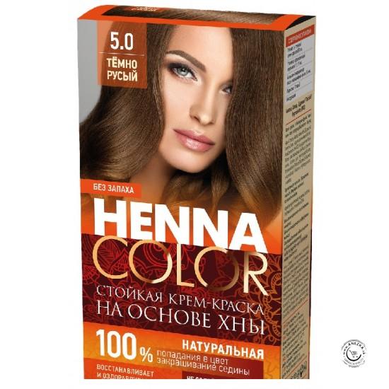 Odolná krémová farba na vlasy Henna Color 5 0 - tmavo hnedá