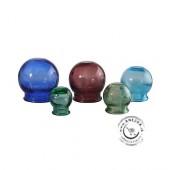 Sada 5 farebných sklenených baniek