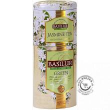 Zelený aromatizovaný sypaný čaj - Jasmine & Green 2v1 plech 50g & 75g, Basilur