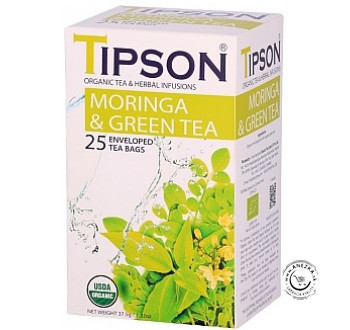 BIO porciovaný zelený čaj - Moringa Green tea 25x1,5g, Tipson