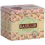 Sypaný zelený čaj - Present Pink plech 100g, Basilur
