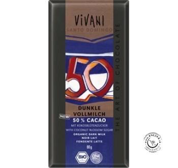 Mliečna čokoláda 50% BIO - 80g, VIVANI