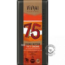 Horká čokoláda 75% BIO - 80g, VIVANI